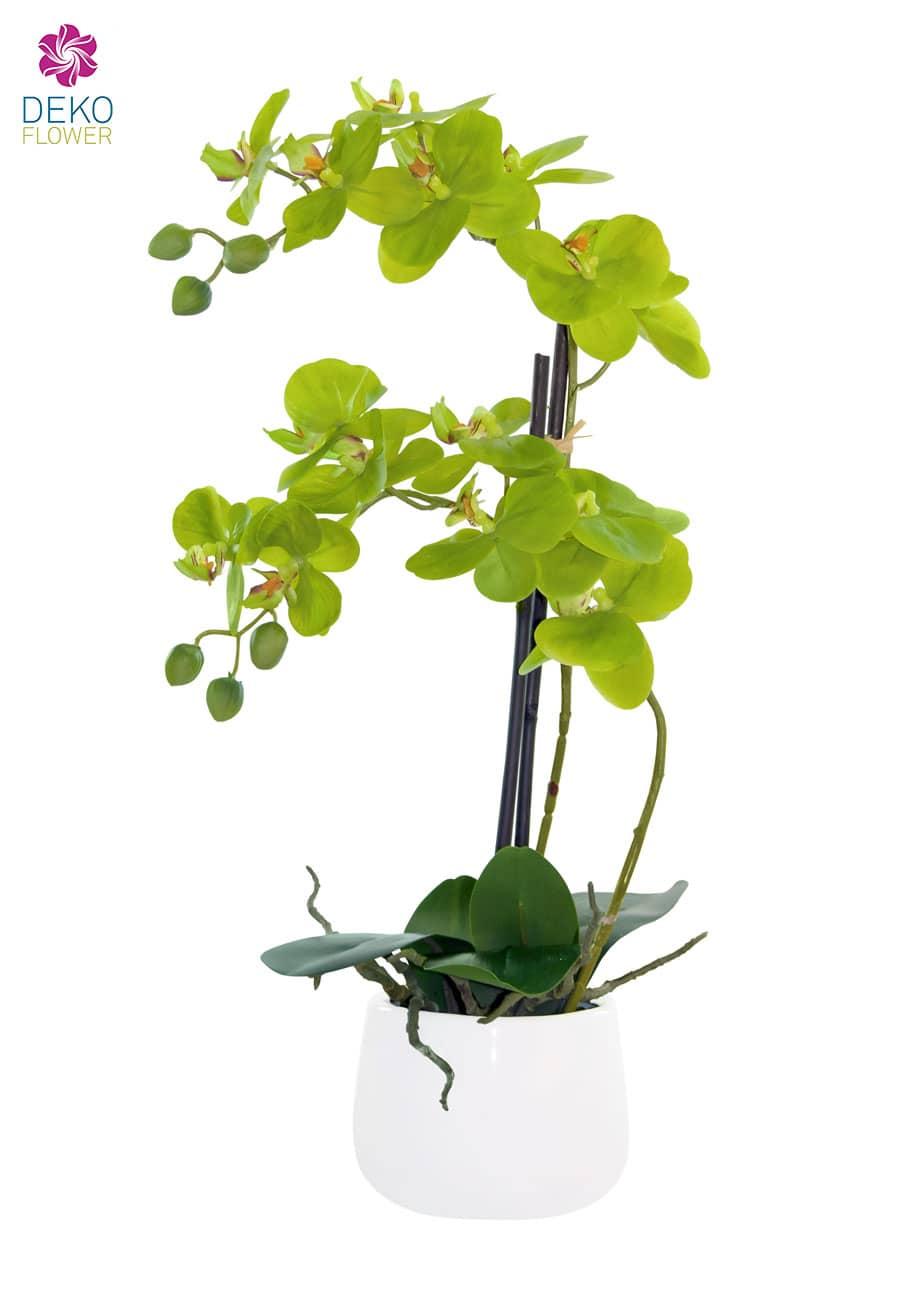 Künstliches Orchideen Gesteck im Topf 52 cm grün