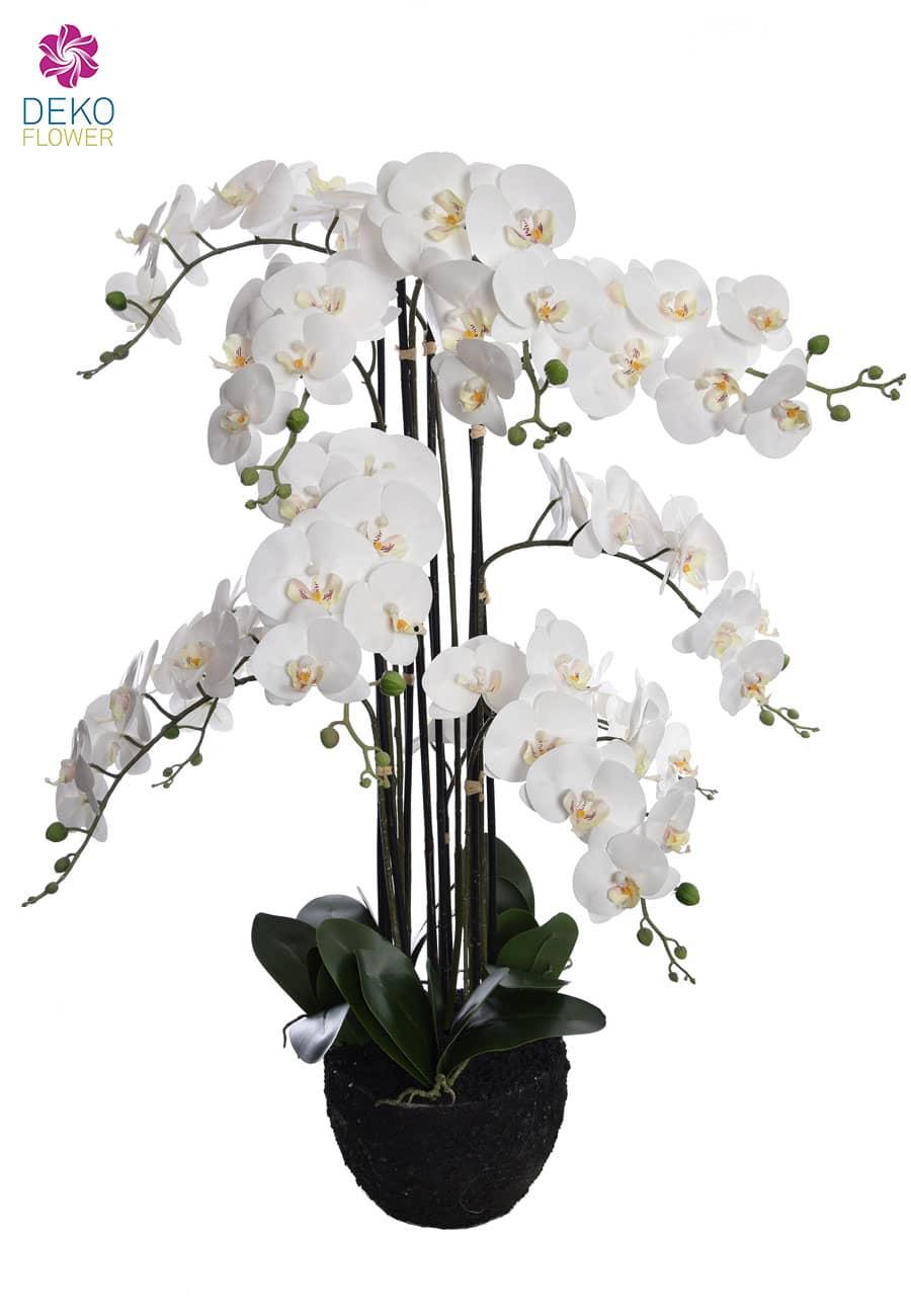 Künstliche Orchidee im Erdballen 114 cm weiß