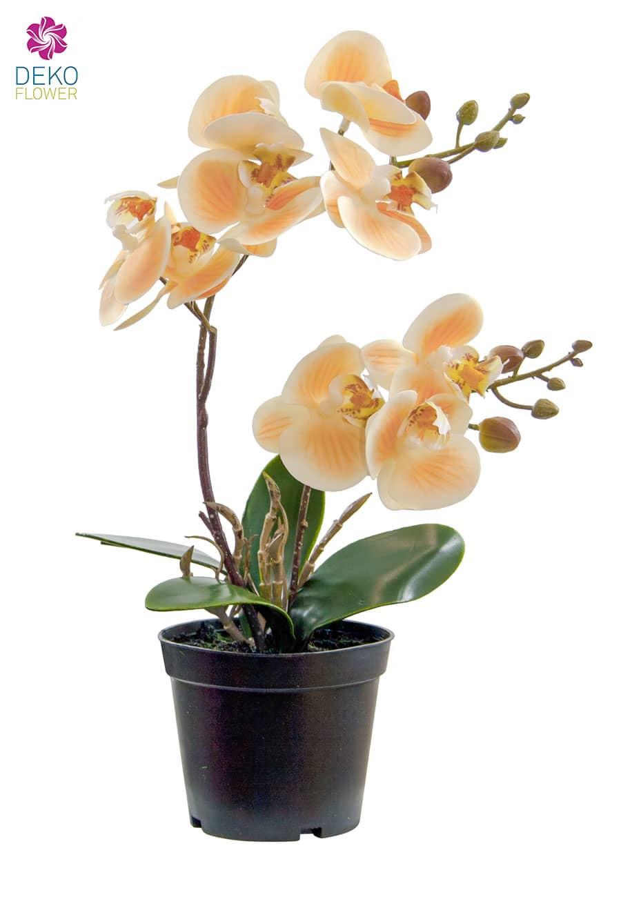 Künstliche Orchidee im Topf pfirsichgelb 28 cm