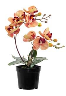 Künstliche Orchidee im Topf orange rot 28 cm