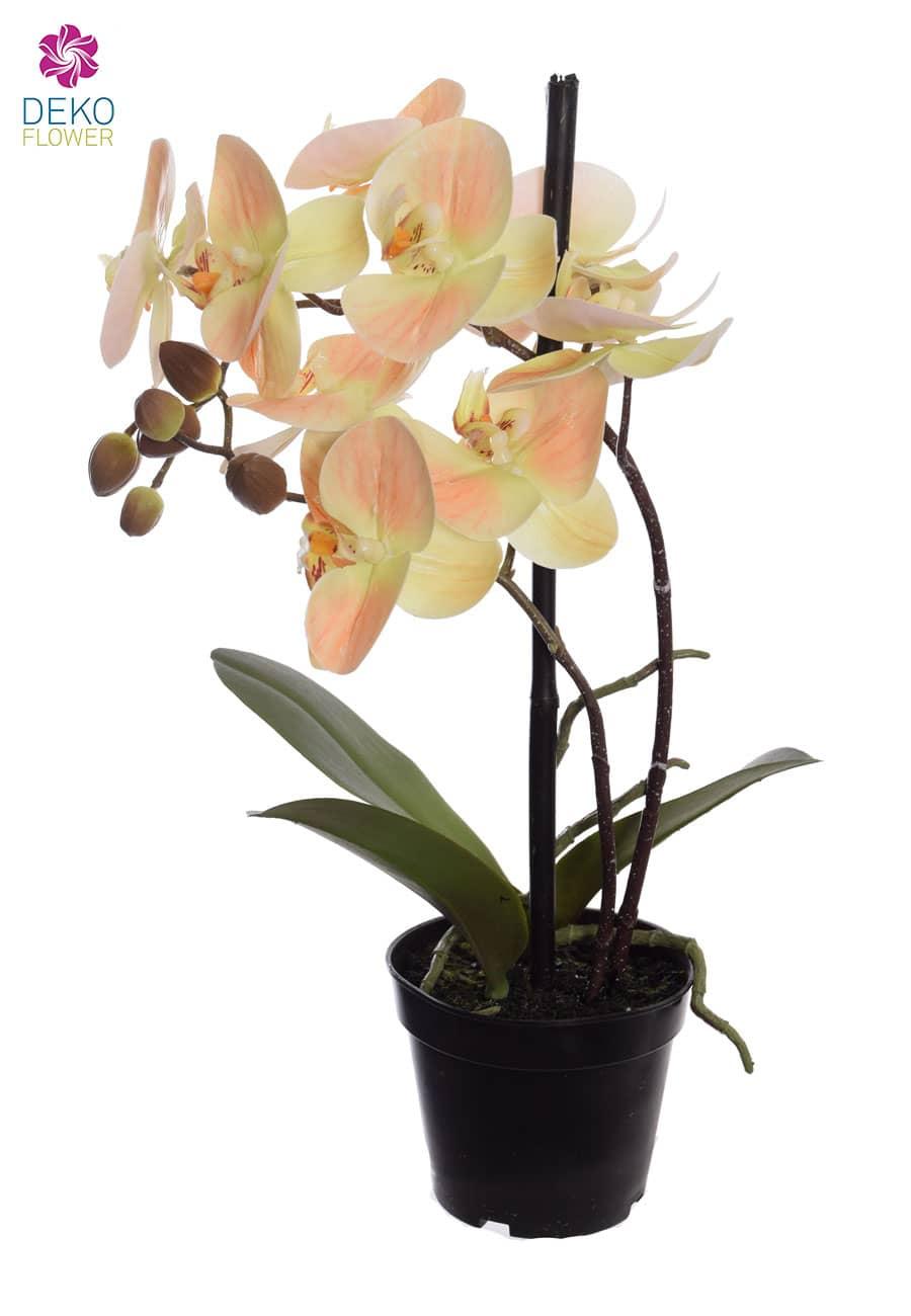 Künstliche Orchidee im Topf pfirsichgelb 36 cm