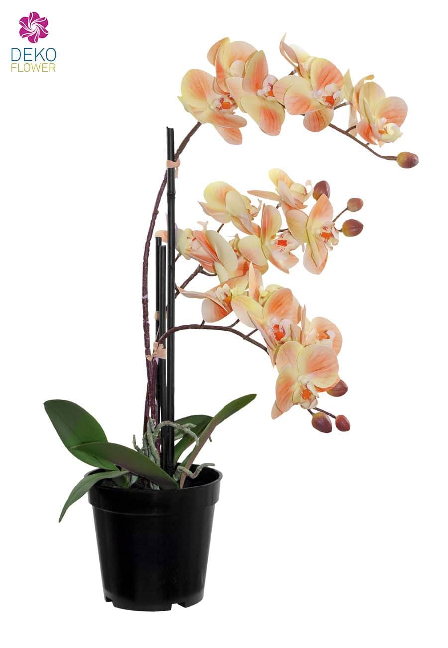 Künstliche Orchidee im Topf pfirsichgelb 48 cm