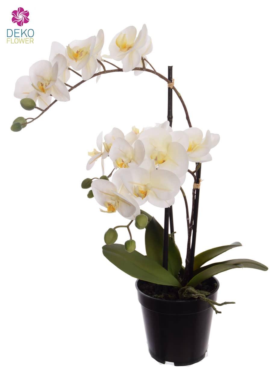 Künstliche Orchidee im Topf weiß 48 cm