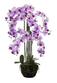 Künstliche Orchidee lavendel 135 cm in Erdballen