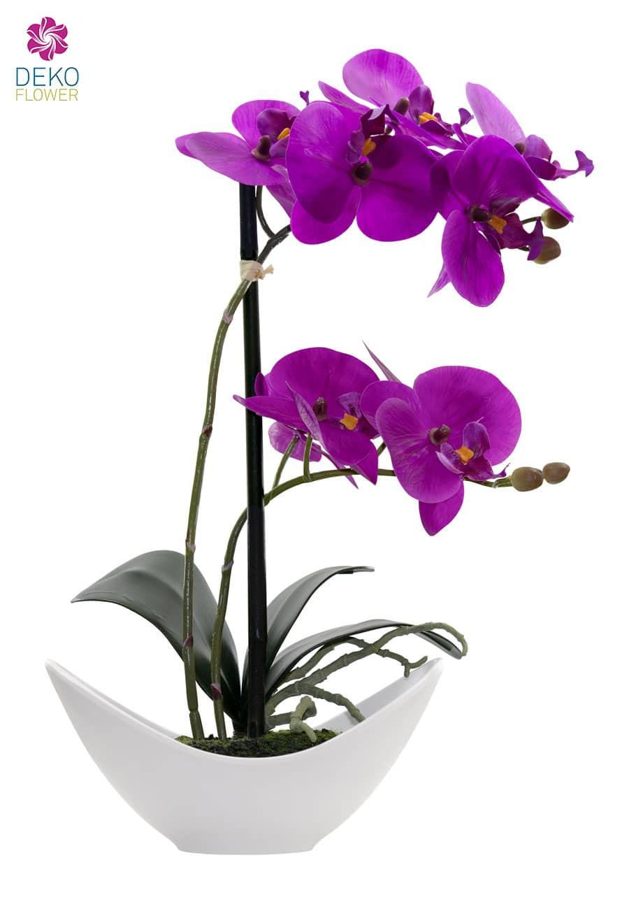 Künstliche Orchidee lavendel 36cm im weißer Schale