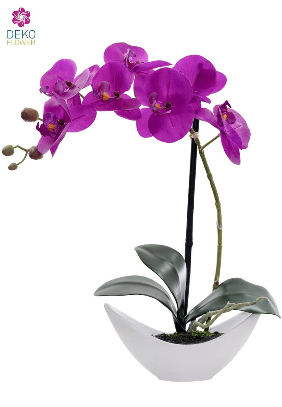 Künstliche Orchidee lavendel 42cm im weißer Schale