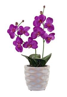 Künstliche Orchidee magenta im Steintopf 36 cm