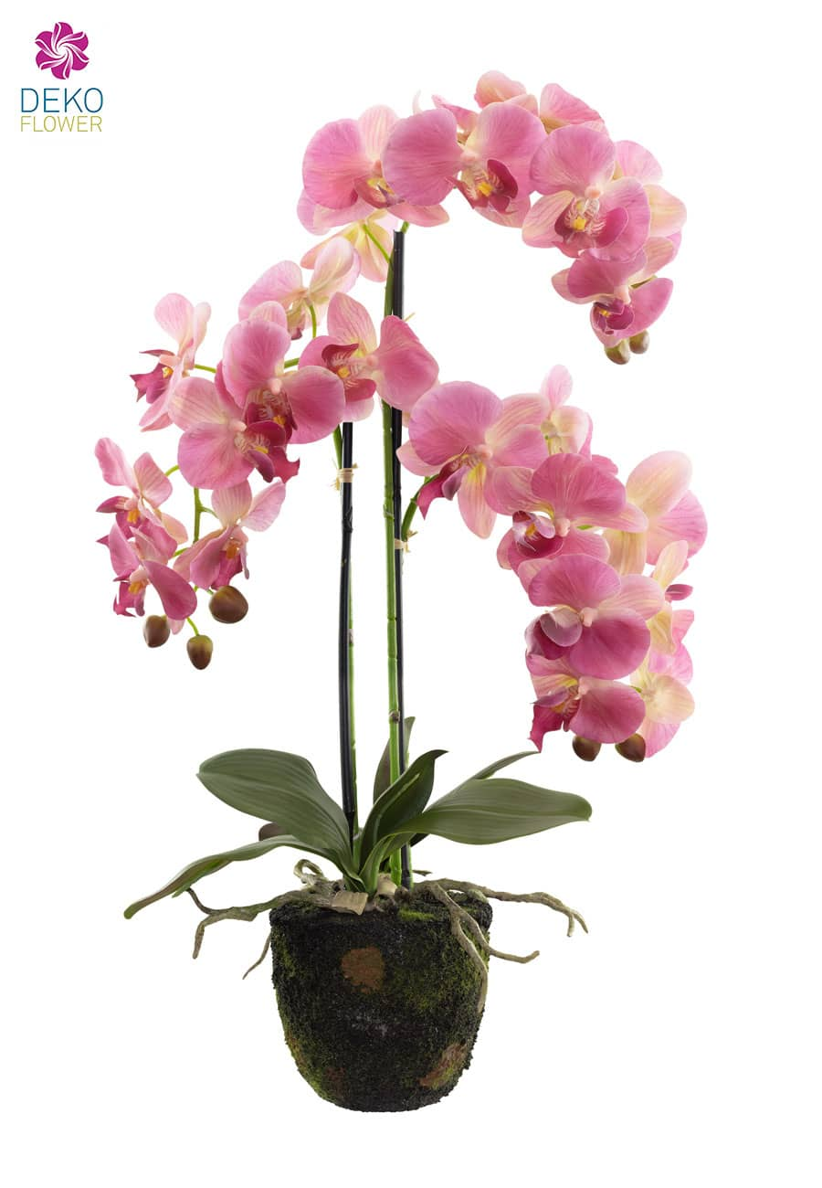 Künstliche Orchidee mit Erdballen rosa 65 cm