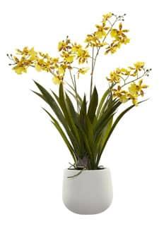 Künstliche Orchidee Oncidium 64 cm gelb im Kugeltopf