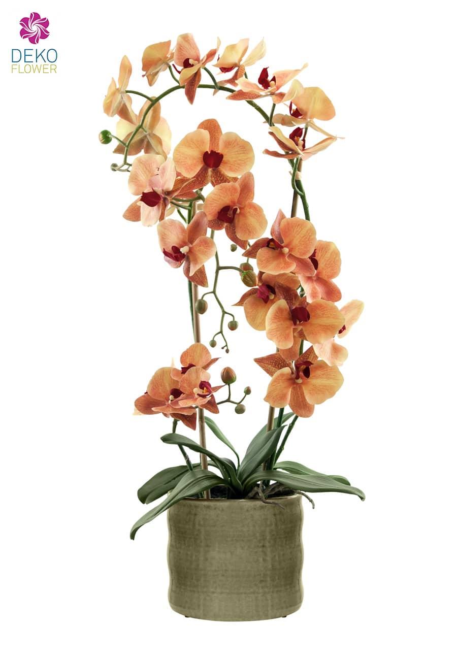 Künstliche Orchidee orange 70 cm im Keramik Topf