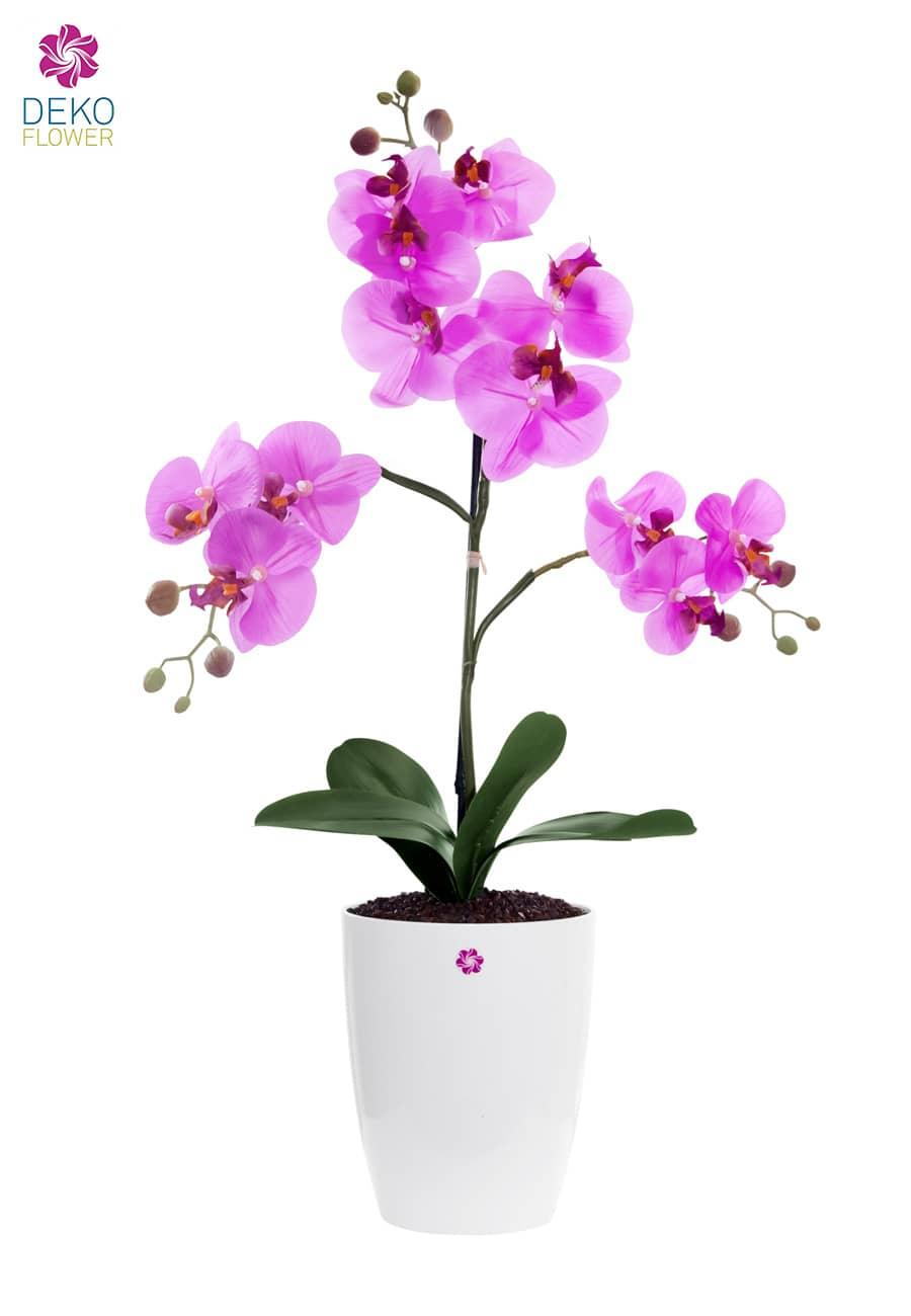 Künstliche Orchidee pink im Kübel 53 cm