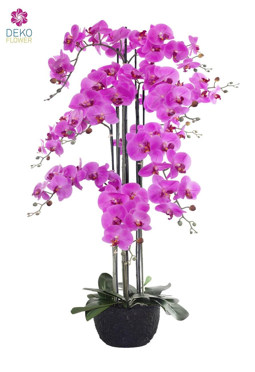 Künstliche Orchidee pink im Erdballen 114 cm