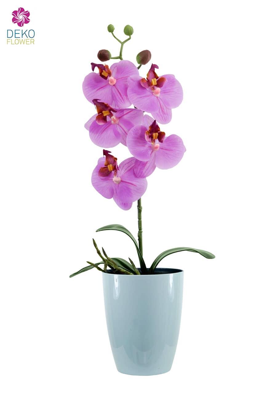 Künstliche Orchidee Premium in pink mit Übertopf 45cm