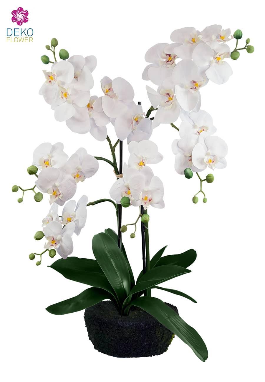 Künstliche Orchideen Pflanze weiß 62 cm