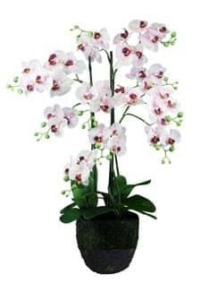 Kunst Orchidee weiß rosa 86 cm