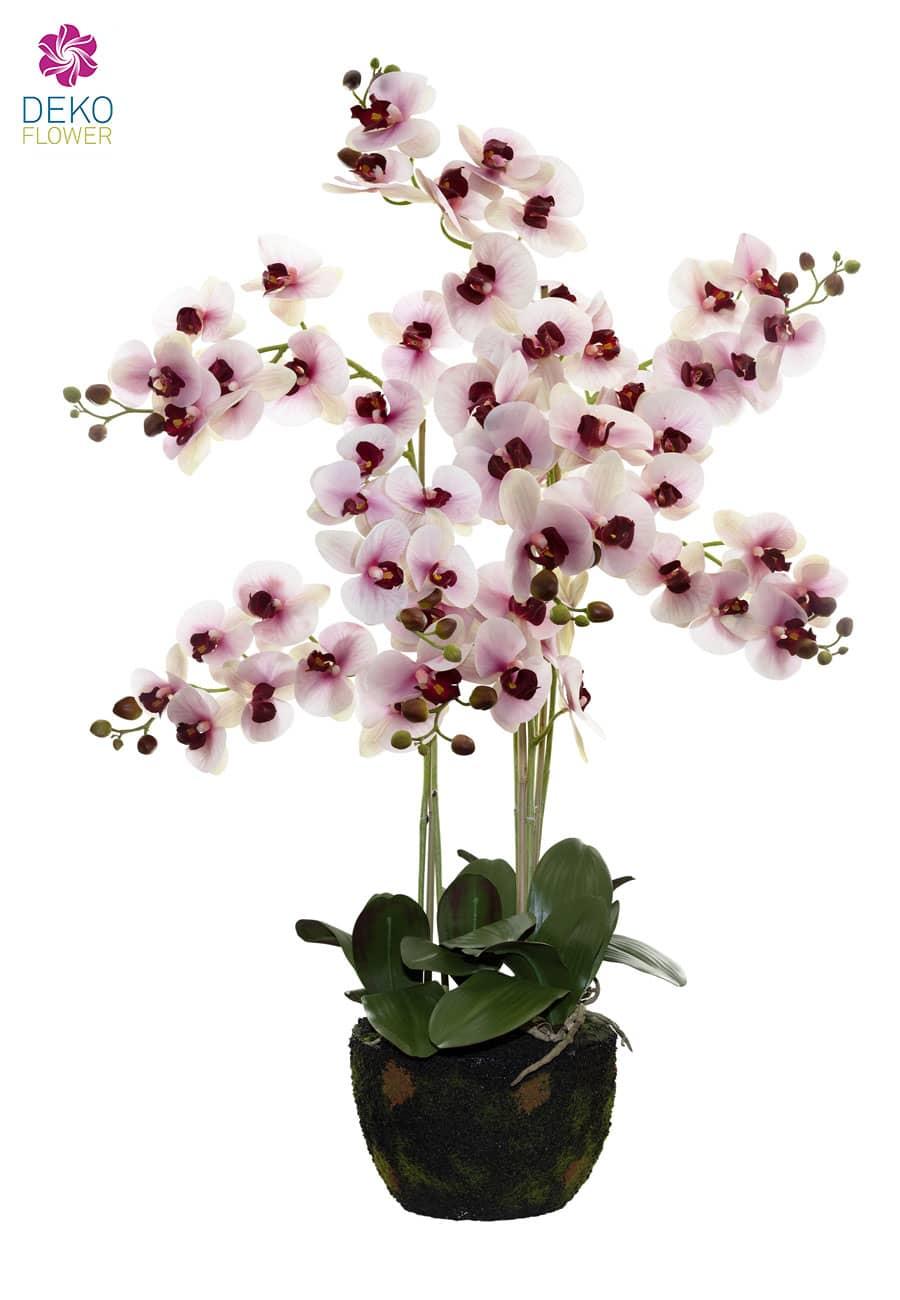 Künstliche Orchidee rosa 105 cm auf Erdkugel