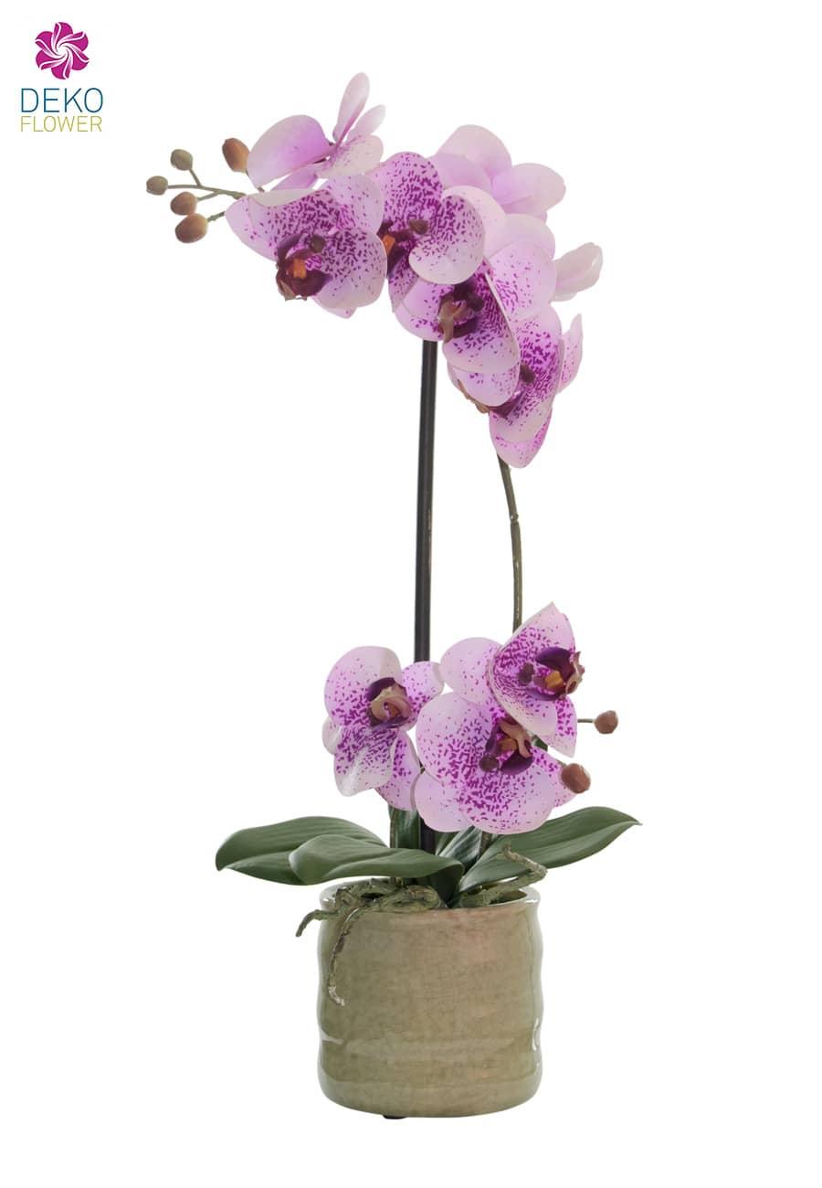 Künstliche Orchidee rosa 43 cm in Keramikschale