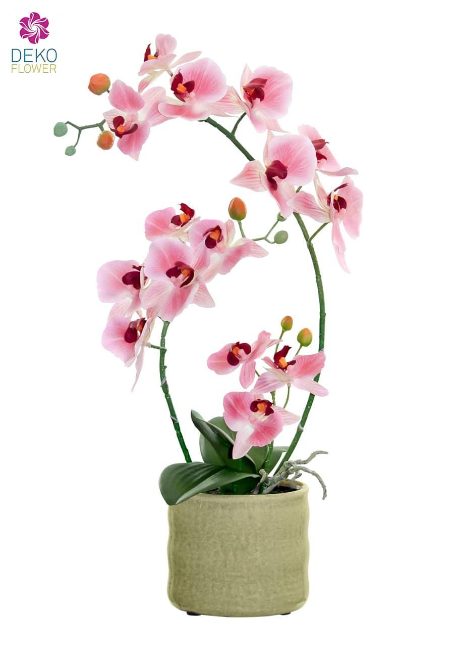 Kunstorchidee rosa 46 cm im Topf