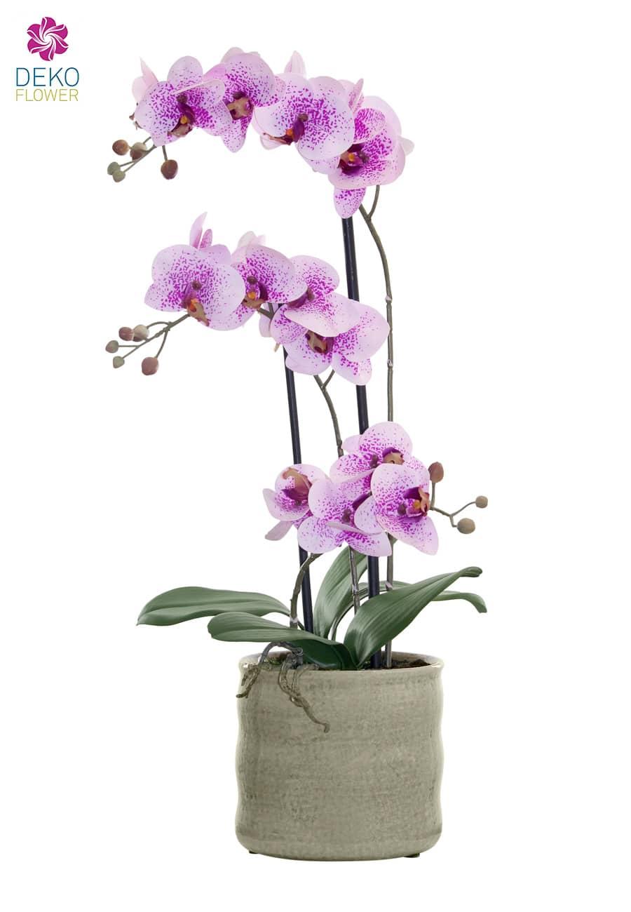 Künstliche Orchidee rosa 58 cm in Keramikschale