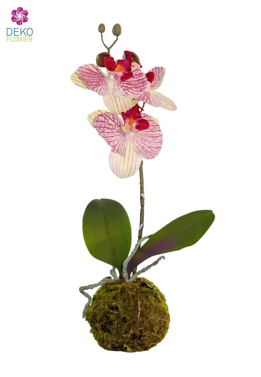 Künstliche Orchidee in Erdkugel 38 cm rot grün