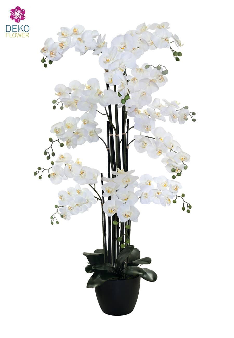 Kunst Orchidee weiß 150 cm extragroß