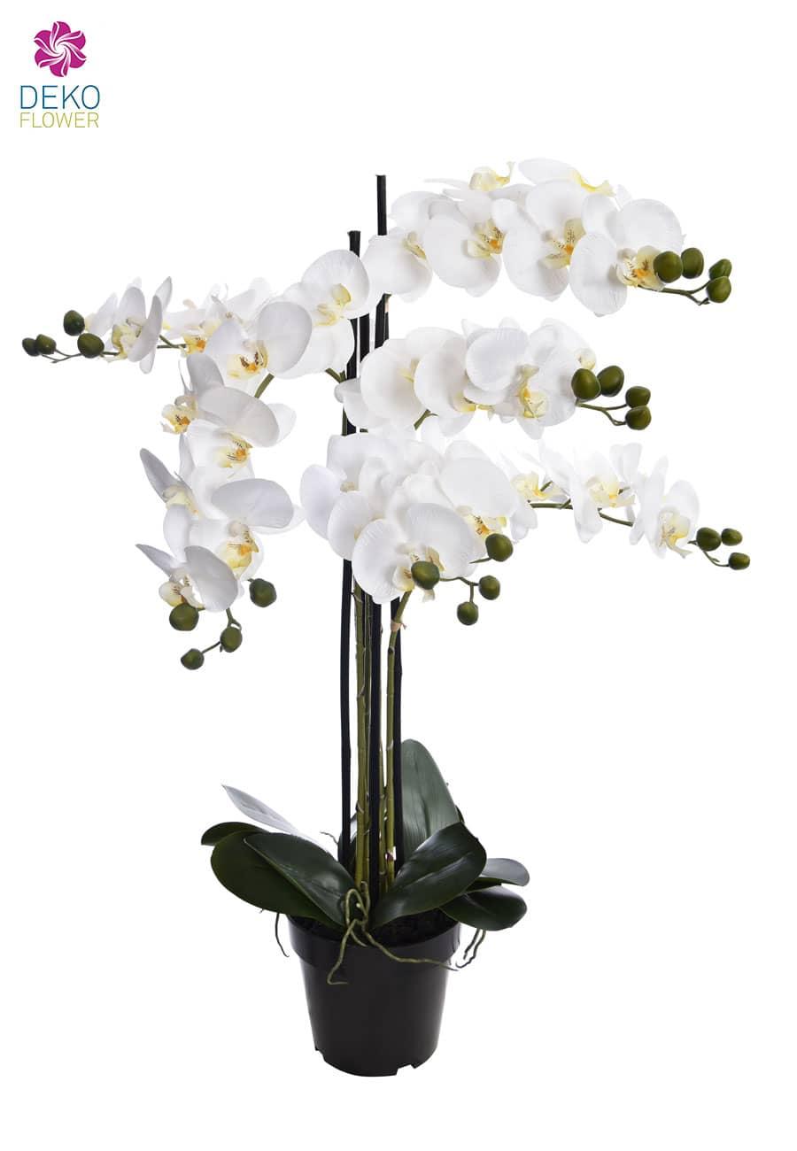 Künstliche Orchidee weiß im Topf 90 cm