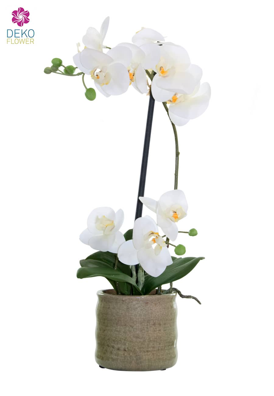 Künstliche Orchidee weiß 43 cm in Keramikschale