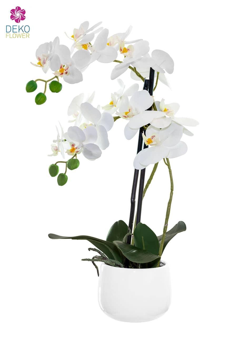Künstliche Orchidee weiß 52 cm