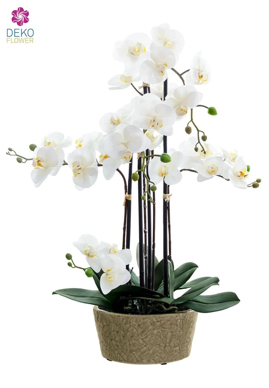 Kunst Orchidee in Schale weiß 64 cm