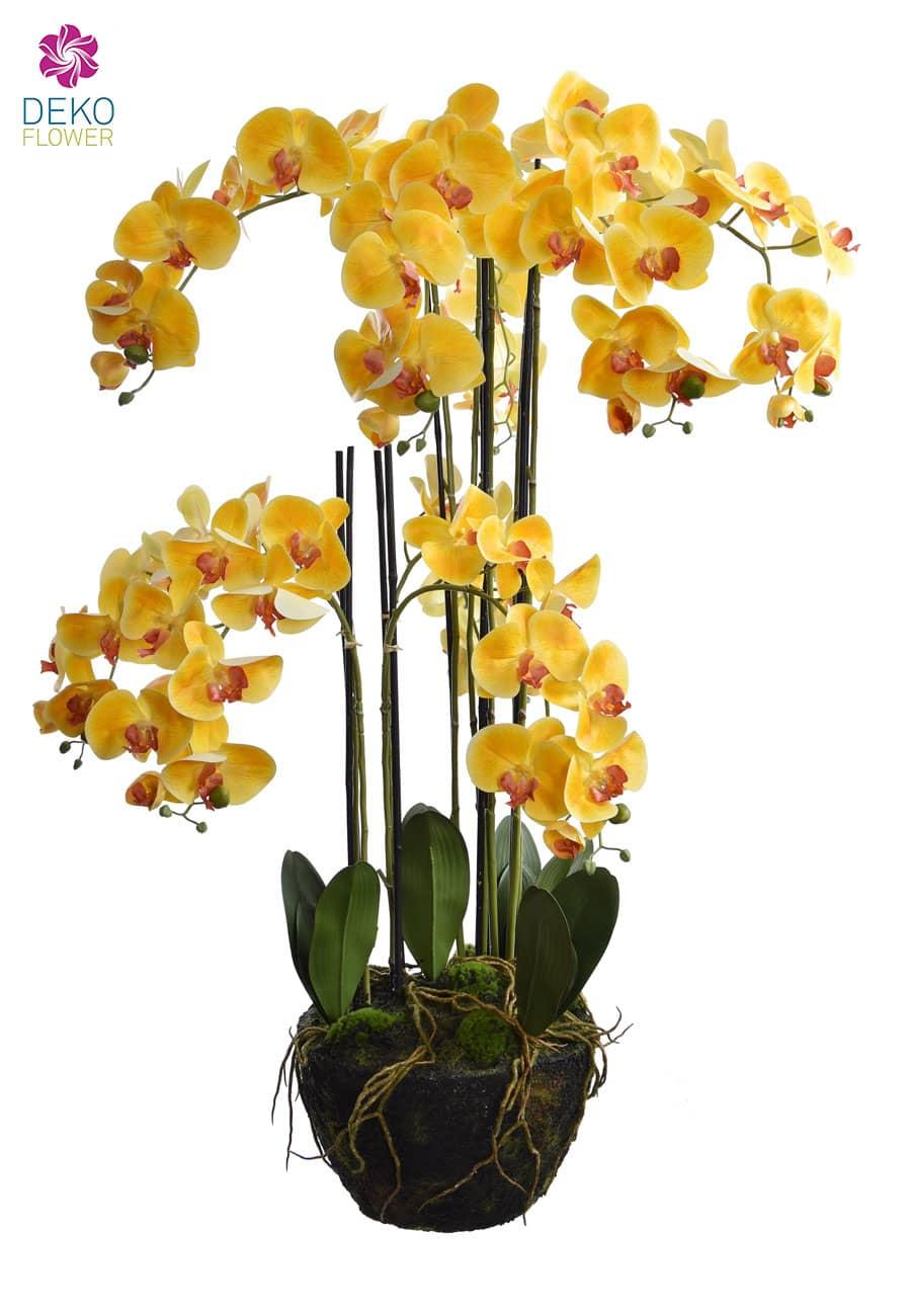 Künstliche Orchidee XXL 140 cm gelb