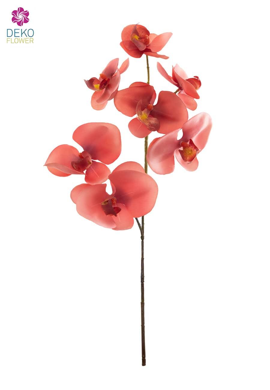 Künstliche Orchideenzweige korallenrot 50 cm 3er Pack