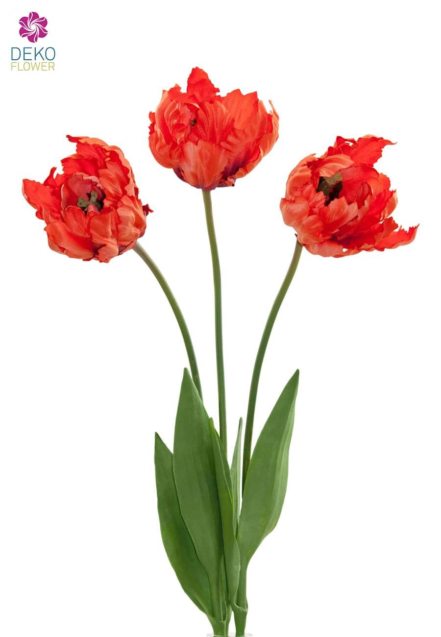 Künstliche Papageien Tulpen 3er Pack 61 cm korallenrot