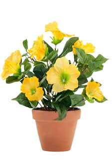 Künstliche Petunien Blumen gelb im Topf 30 cm