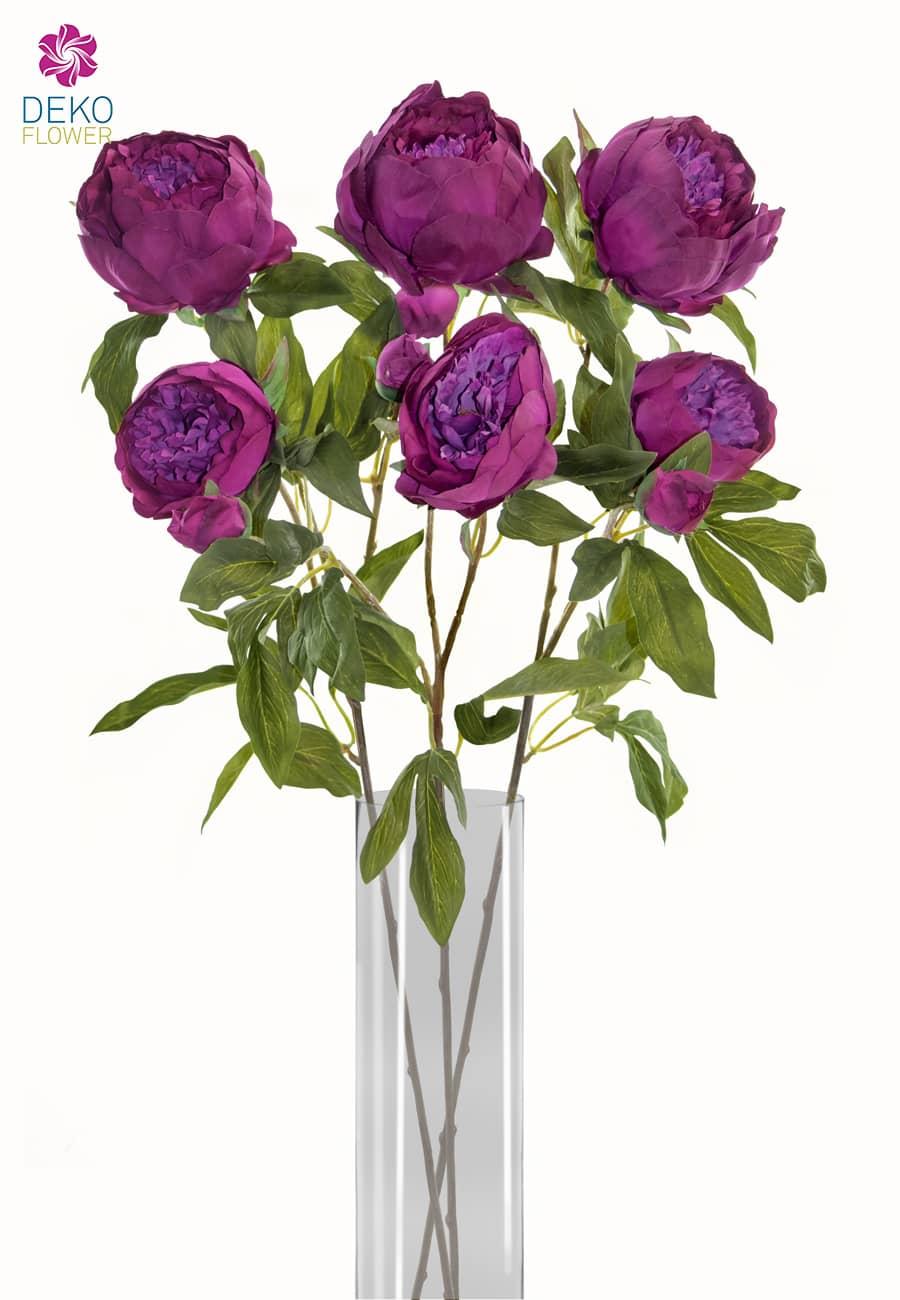 Pfingstrosen Kunstblumen violett blau 72 cm 3er-Set