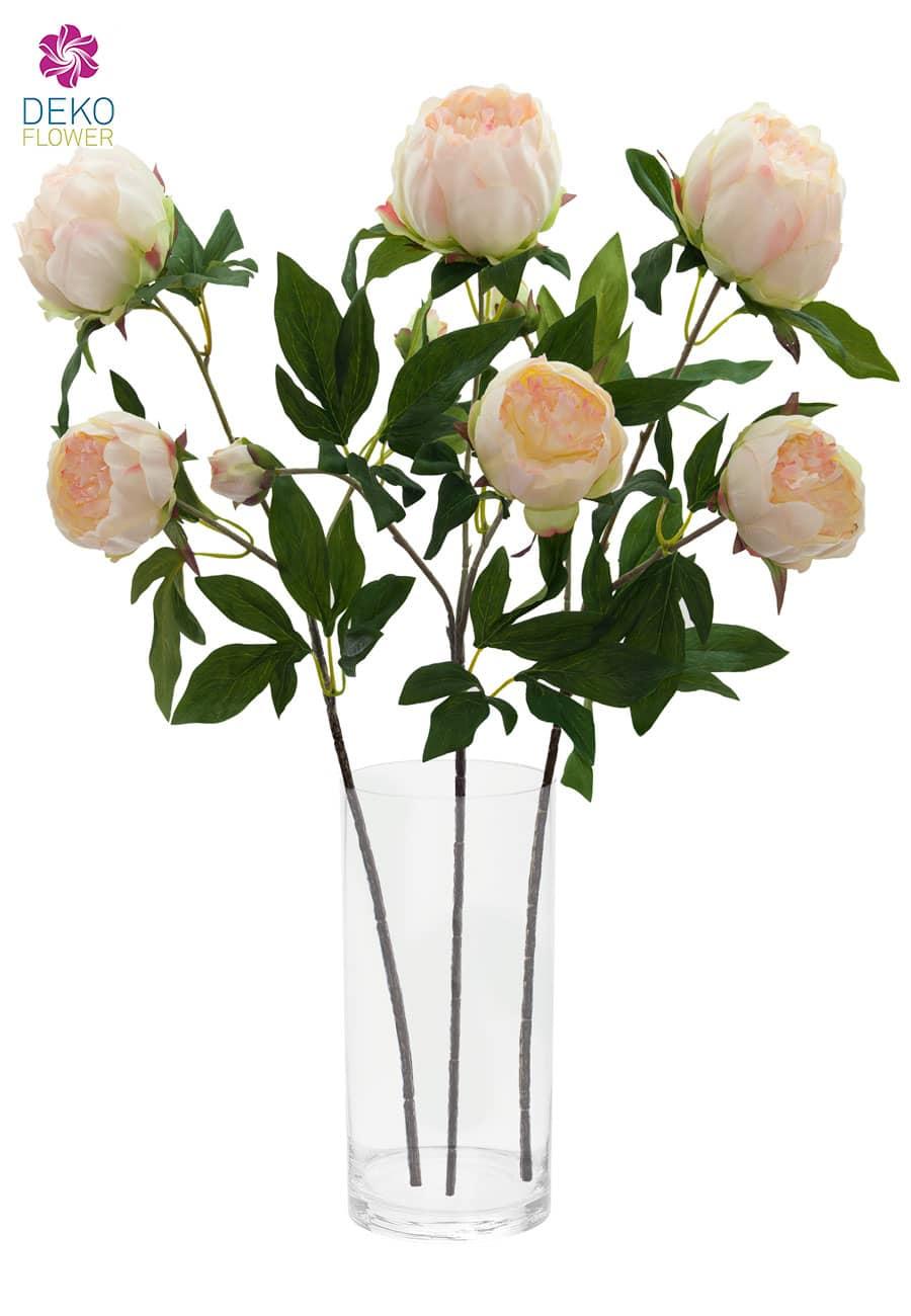 Künstliche Pfingstrosen Blumen weiß pink 72 cm 3er Set