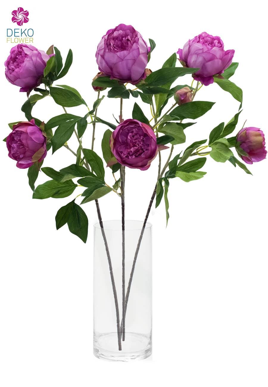 Künstliche Pfingstrosen Blumen pink 72 cm 3er Set