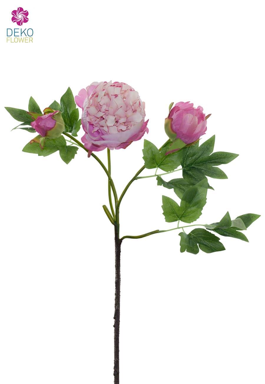 Künstliche Pfingstrosen rosa 78 cm 3er Pack