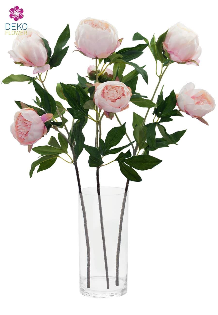 Künstliche Pfingstrosen rosa 72 cm, 3er-Set
