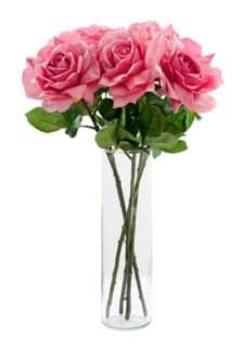 Kunstrosen rosa 49 cm 5er Pack