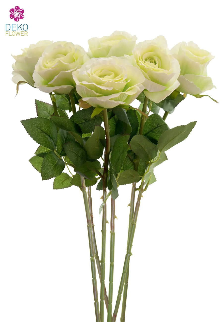 Kunstblumen Rosen grün 77 cm