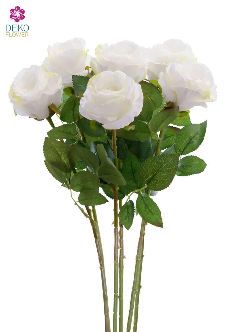 Künstliche Rosen weiß 77 cm 6er Pack