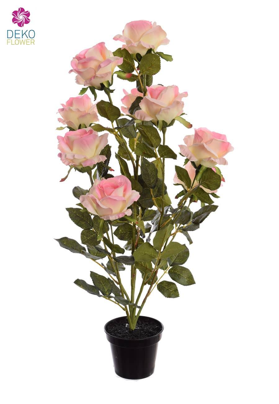 Künstliche Rosen im Topf 70 cm rosa