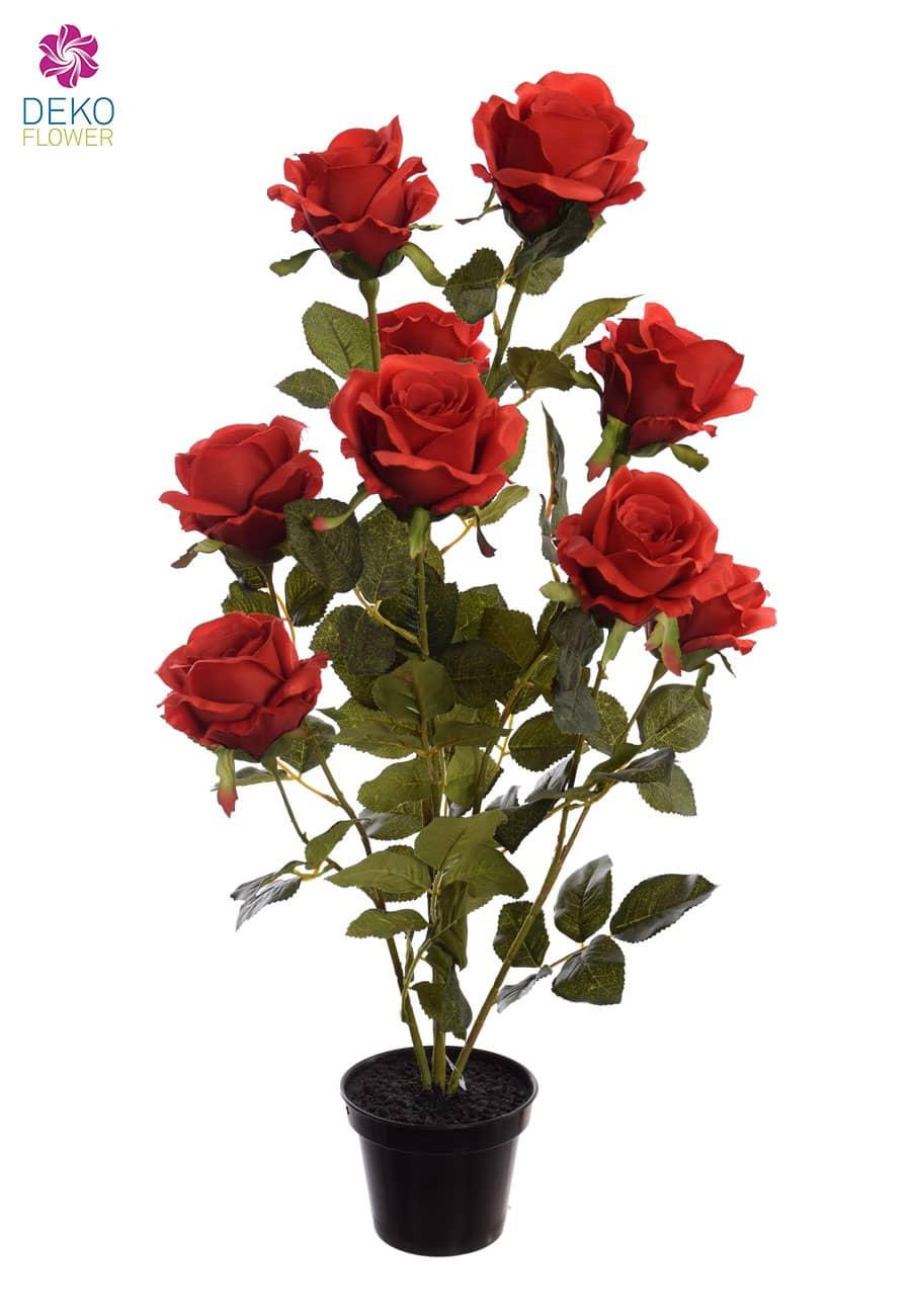 Künstliche Rosen rot 70 cm getopft