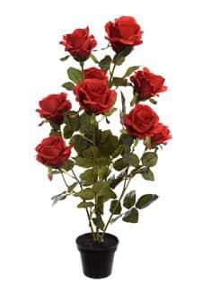 Künstliche Rosen im Topf 70 cm rot