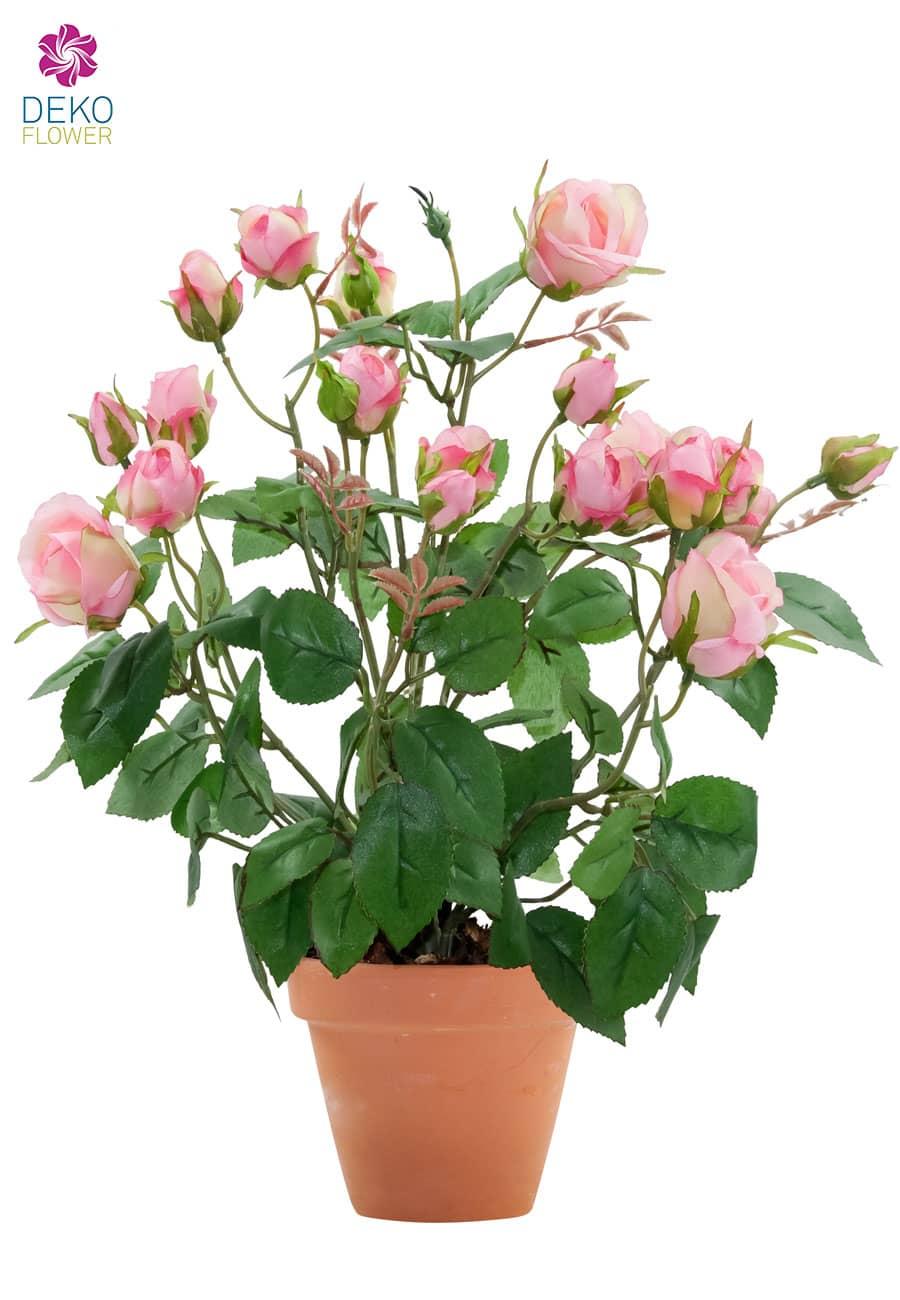 Künstliche Rosen rosa 40 cm im Topf