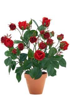 Künstliche Rosen rot 40 cm im Topf
