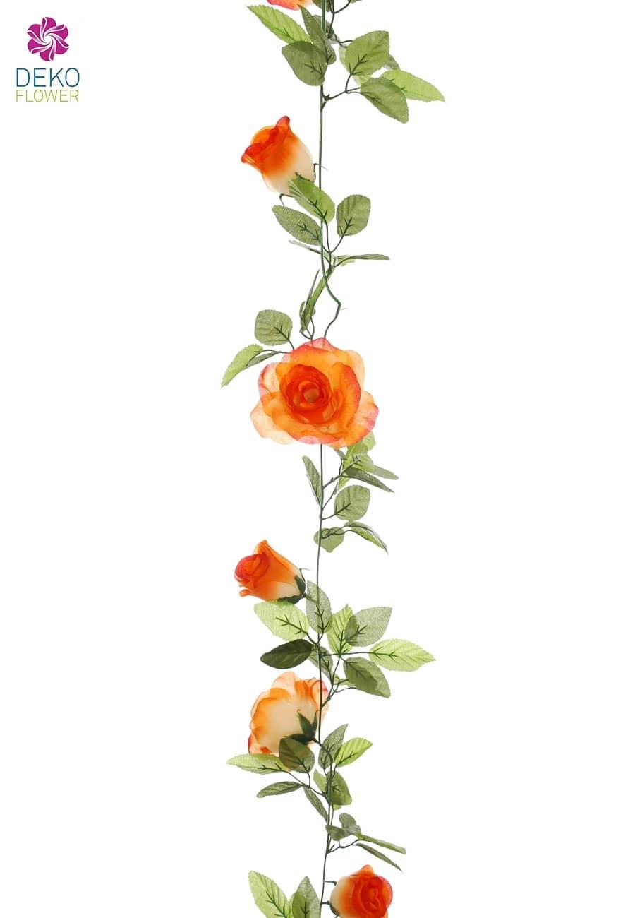 k nstliche rosen blumengirlande orange 170 cm. Black Bedroom Furniture Sets. Home Design Ideas