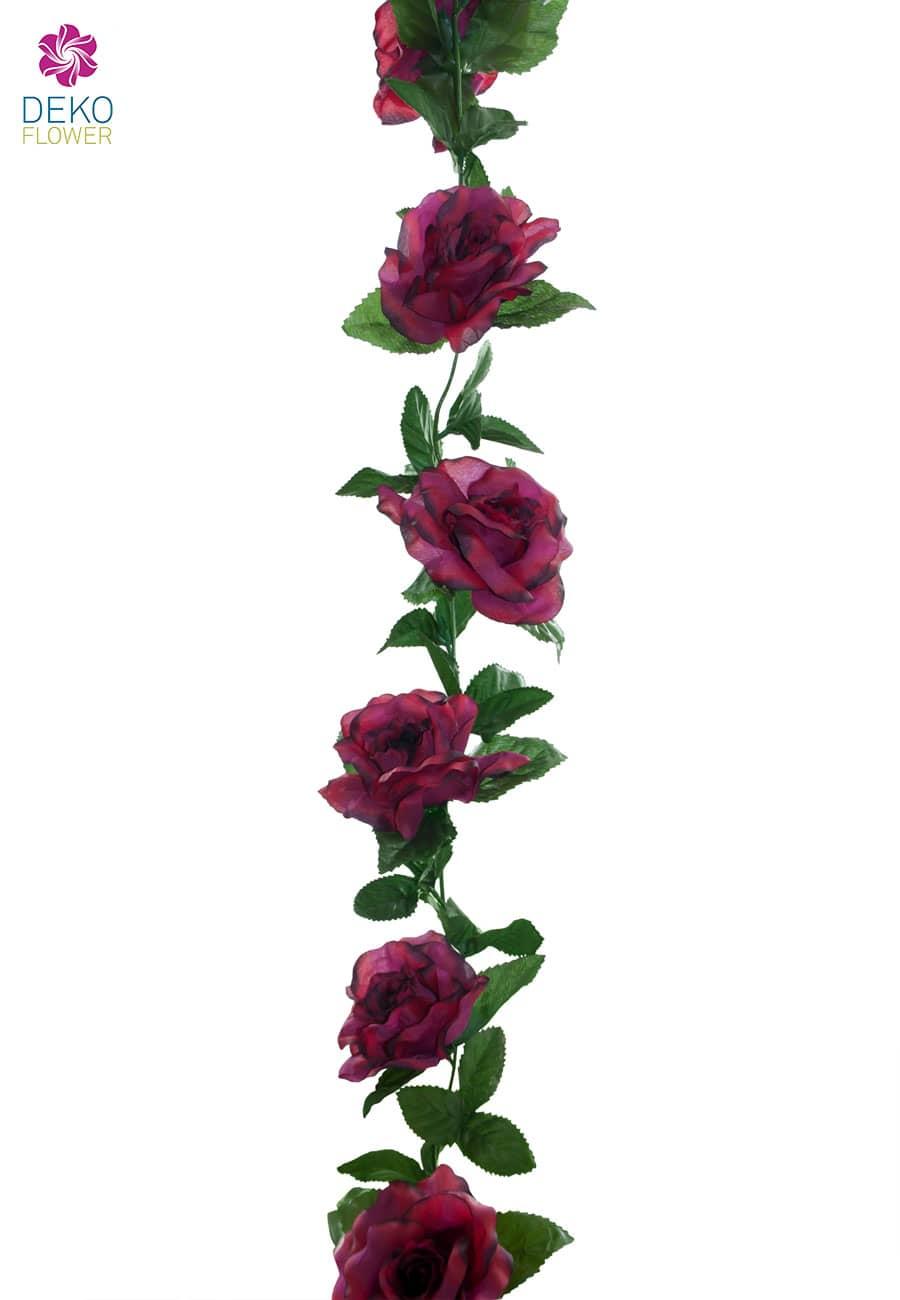 Künstliche Blumengirlande magenta rot 180 cm