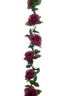 Künstliche Girlande aus Seidenrosen in magenta-rot 180 cm