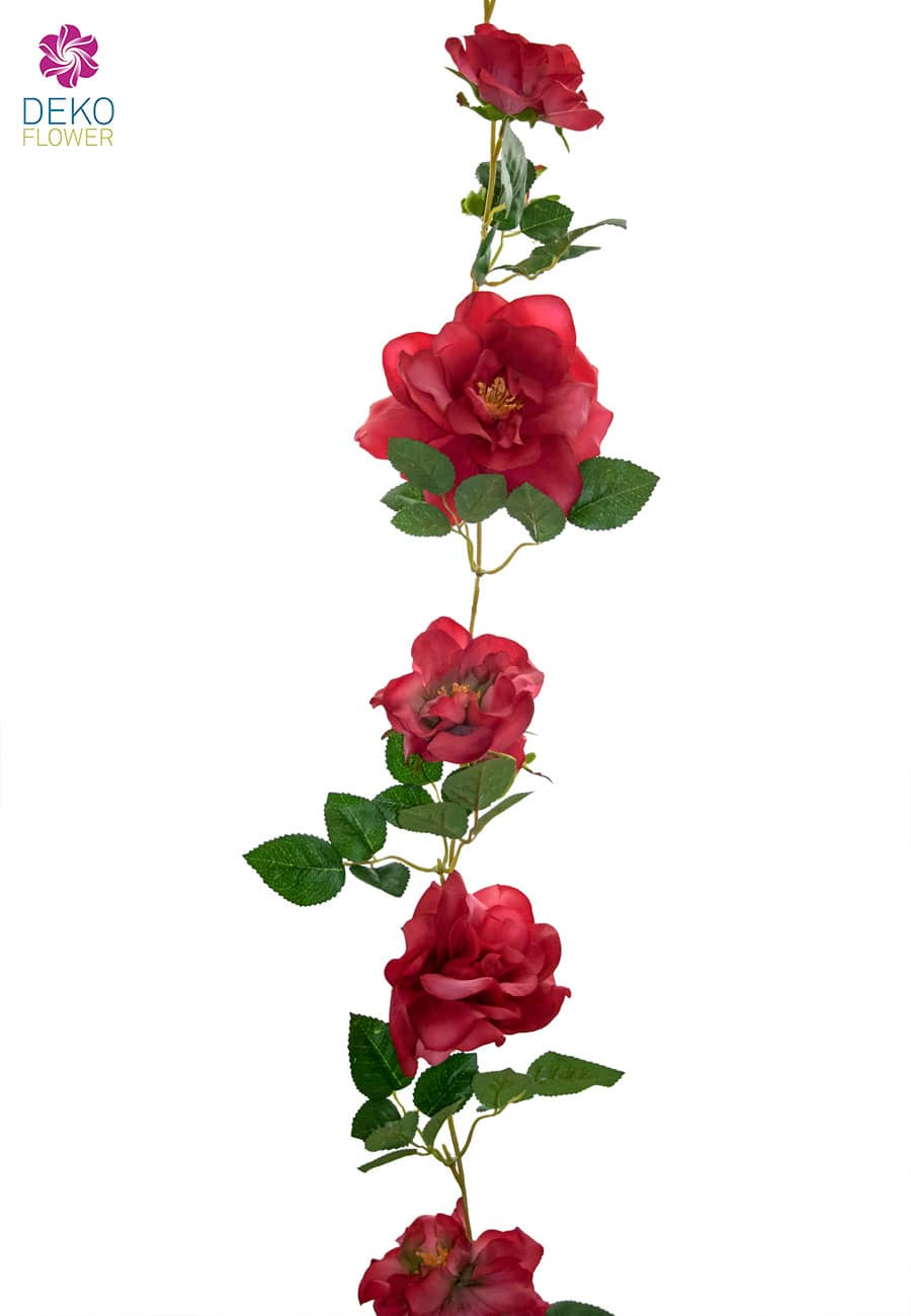 Künstliche Rosen Blumengirlande rot 180 cm